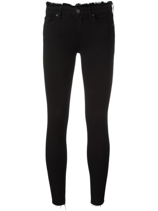 7 For All Mankind - Skinny Crop Slim Luxe Black Frayed