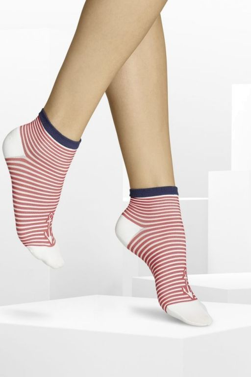 ITEM m6 - Skipper Stripe Sock rot-weiß