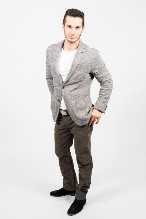 René Lezard - Jersey-Slim Fit Sakko mit Fischgrätmuster in dunklem braun