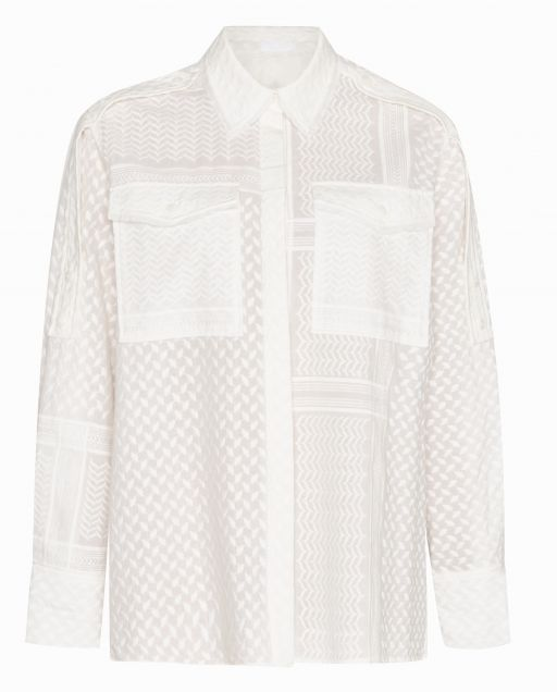 lala Berlin - Oversized Bluse mit aufgsticktem Kufiya Print