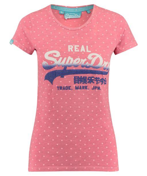 Superdry -Vintage Logo Overdyed Shirt fluro pink