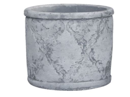 Übertopf mit französischem Muster grau groß