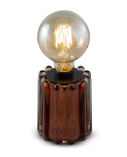 Glasteelicht Louisa mit Streifenstruktur inkl. Glühbirne braun