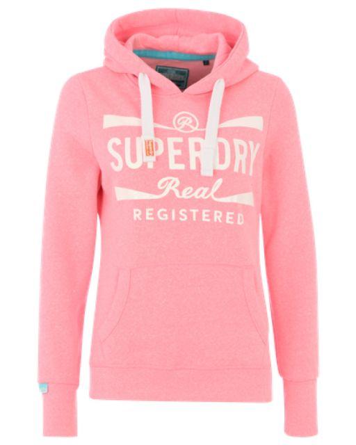 Superdry - Real Registered Hoodie fluro acid pink snowy