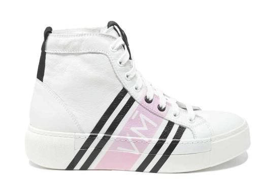 Vic Matié - High Top Sneaker mit pinken Streifen